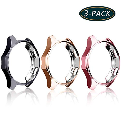 [3-Pack] KPYJA Case for Samsung Gear S3 Frontier 46mm, Shock-Proof and Shatter-Resistant Protective TPU Cover for Samsung Gear S3 Frontier SM-R760/Galaxy Watch SM-R800(Black+Rose Gold+Rose Pink) (Samsung S3 Case Pink)