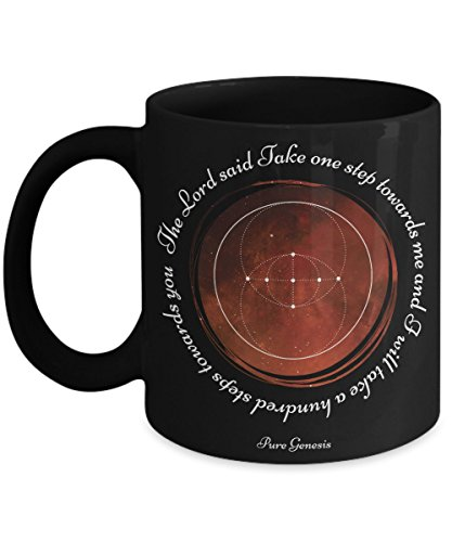 The Lord said Take one step towards me and I will take a hundred steps towards you - spiritual meditation yoga gift mug by Pure Genesis black coffee cup
