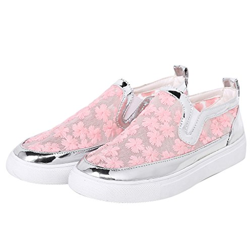 Women Mesh Lace Loafers Platform Embroidered Floral Sneakers by Dear Time Pink 0NAVU