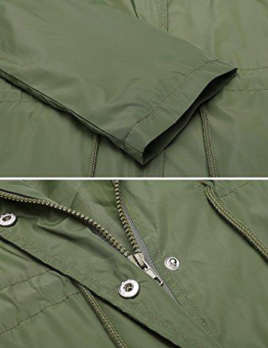 Militare Donna Verde Con Maniche Impermeabile Lunghe Giacca Parka Meaneor Cappuccio CwpqgPg