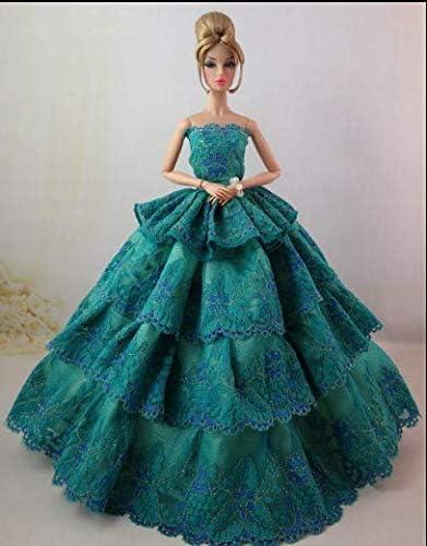 Elegante Vestido de muñeca con Falda Larga Verde Pavo Real para ...