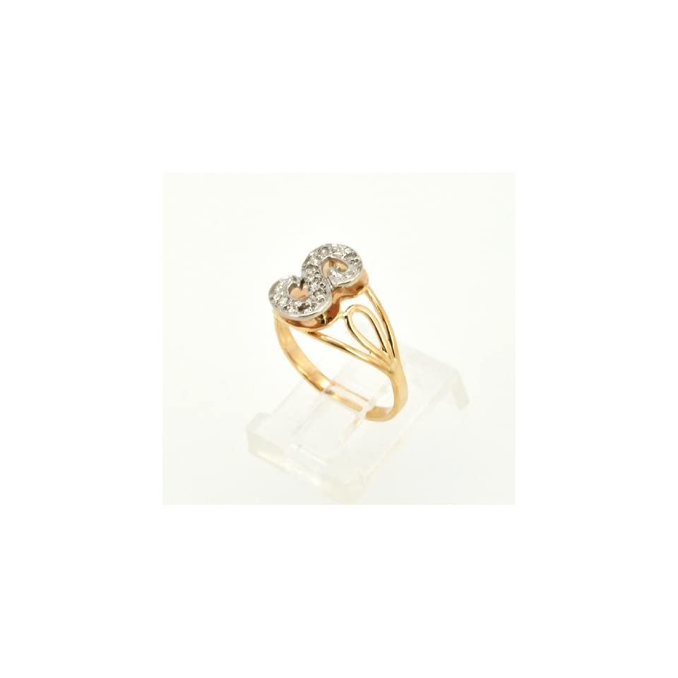 14K Two Tone Gold Diamond S Initial Ring