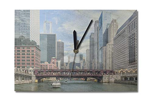 Lantern Press Chicago River Boat Tour Scene Photography A-90296 (10x15 Wood Wall Clock, Decor Ready to Hang) (Best Chicago River Cruise Architecture)
