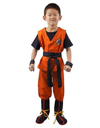 Miccostumes Boy's Son Goku Cosplay Costume Large Orange and Dark -