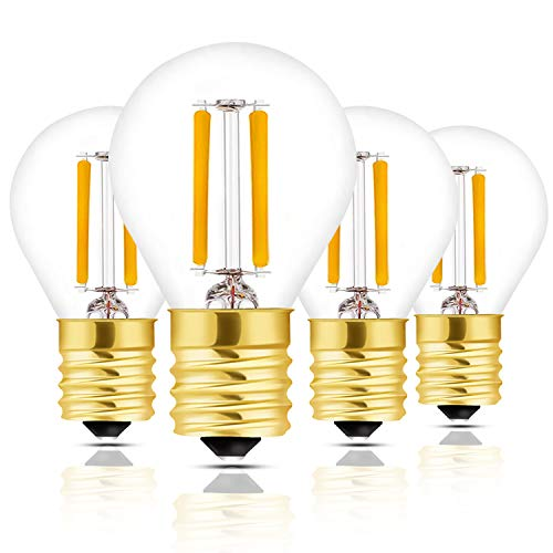 - Hizashi Super Mini Globe S11 LED Light Bulb, Dimmable, 2W E17 Intermediate Base LED Filament Replacement Bulb, 25 Watt Equivalent, Warm White Light for Desk Lamp, Cabinet, Closet, Hutch - 4 Pack