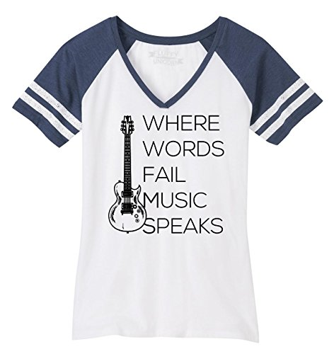 V-neck Guitar T-shirt Womens - Comical Shirt Ladies Game V-Neck Tee Where Words Fail Music Speaks White/Heathered Navy XL