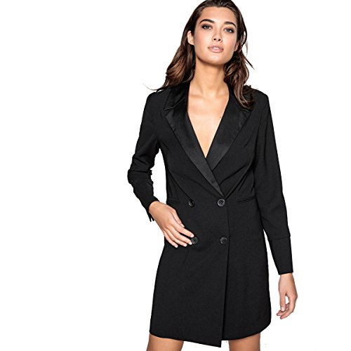 - La Redoute Collections Womens Blazer Dress, Buttoned At Front With Satin Collar Black Size Us 6 - Fr 36