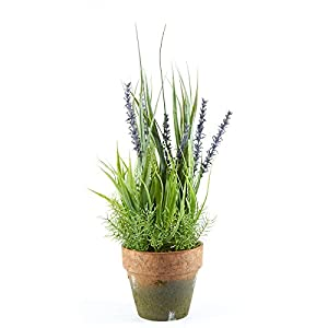 Factory Direct Craft Artificial Potted Purple Wildflower Bundle in Faux Moss Accented Container 35