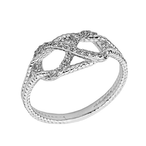 Exquisite 14k White Gold Diamond Infinity Knot Engagement/Promise Ring (Size ()