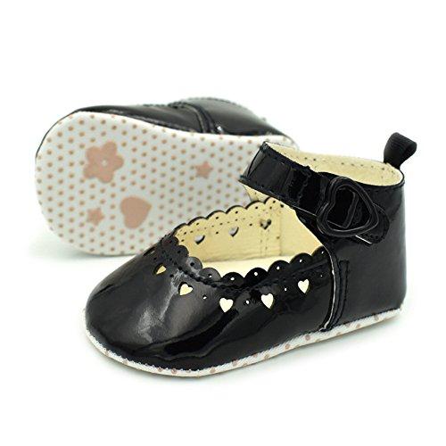 timeracing Infant Toddler bebé suave única prewalker cuna zapatos blanco blanco Talla:6-12 meses negro