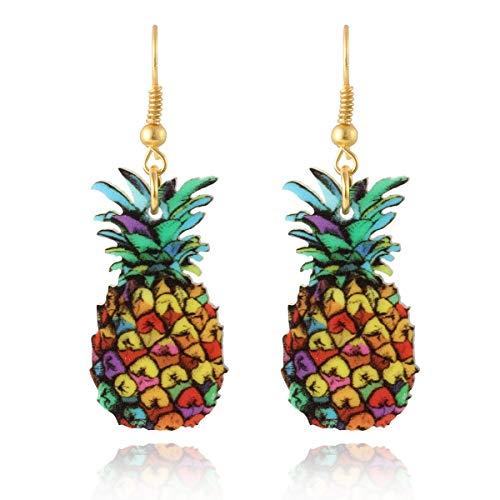 Marte&Joven Cute Pineapple Earrings for Women Girls Unique Fruit Print Acrylic Dangle Earring