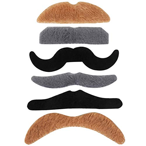 TRIXES 6 Self Adhesive Assorted Fake Moustache Set