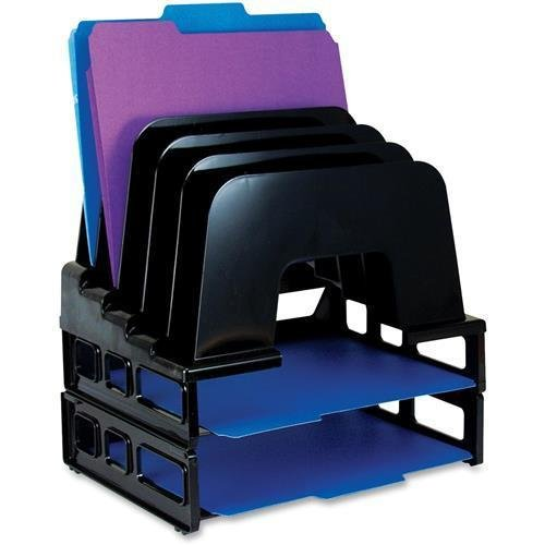 """22112 OIC Incline Sorter With Two Trays - 14"""" Height x 9.1"""" Width x 13.5"""" Depth - 5 Compartment(s) - Black"""