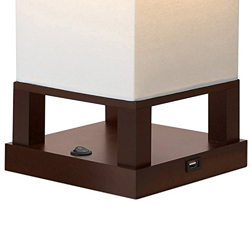 Brightech Maxwell LED USB Side Table & Desk Lamp – Modern Asian Style Lamp with Wood Frame & Soft, Ambient Lighting Perfect for Living Room Bedside Nightstand Light- Energy Efficient- Havanah Brown - bedroomdesign.us