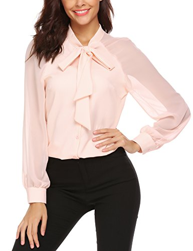 Women's Casual Patchwork Blouse Chiffon Button Down Shirt Tops (L, Pink)
