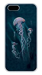 iPhone 5S Cases and Covers,Jellyfish Collage Custom Slim Hard Case Snap-on PC Plastic Case Cover Shell for Apple iPhone 5S/5 White
