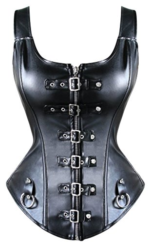 YIANNA Steampunk Punk Rock Faux Leather Buckle-up Corset Bustier Basque Top,YA1412-Black-L -