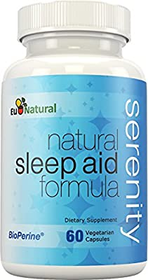 Serenity Natural Sleep Aid - Extra Strength & Non-Habit Forming to Fall Asleep Fast Without Waking Up Groggy - Melatonin, Valerian, Chamomile - 60 Vegetarian Soft Capsules