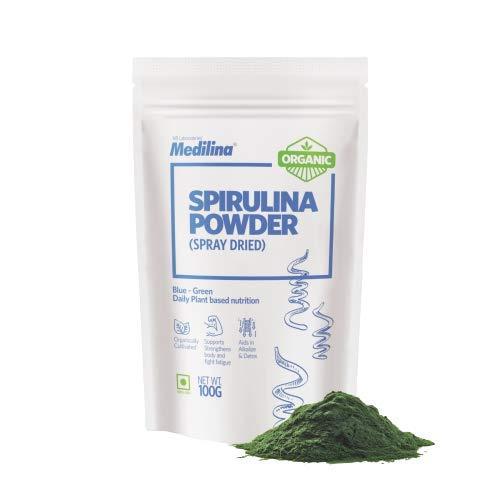 Medilina Organic spirulina powder – Pure and Natural Vitamins, Minerals – Health Supplement – [100 gm pouch ]