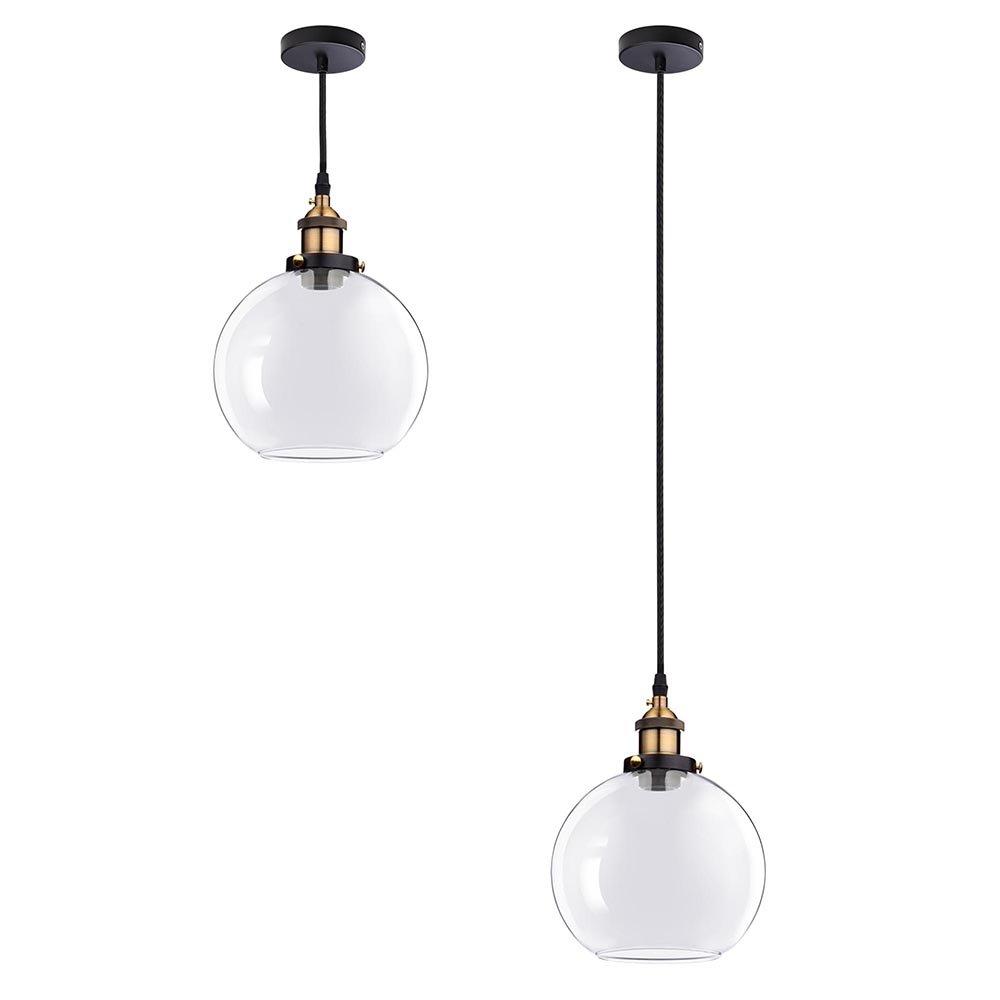 Vintage Industrial 7.9'' Glass Ball Ceiling Light Pendant Chandelier Light Edison Lamp Cafe Kitchen Clear
