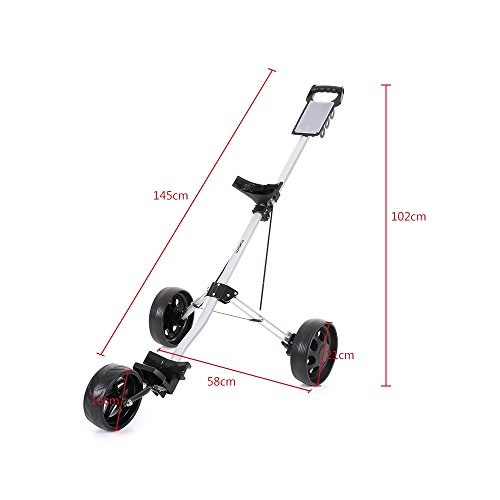 TOMSHOO 3 Wheels Golf Push Cart Foldable Aluminum Pull Cart Trolley with Footbrake System by TOMSHOO (Image #5)