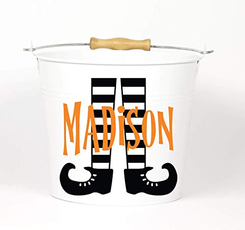 Personalized Halloween Witch Feet Name Pail - Choose The Color - Metal Pail Bucket Basket Bag for Girls and Boys -