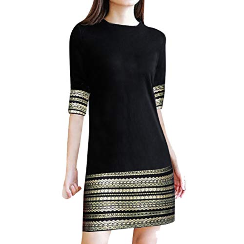 Zlolia Women's Striped Patchwork Retro A-Line Dress Half Sleeve Round Neck High Waist Midi Dress Summer Fashion Overalls Black