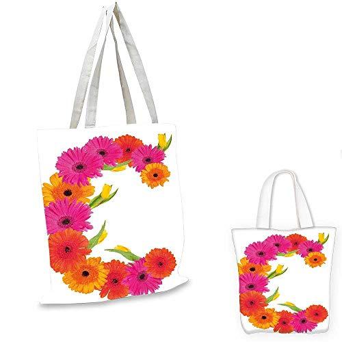 Letter C canvas messenger bag Vivid Floral Bouquet Blossom Season Inspired Florets with Tulip Flower shopping bag for women Orange Hot Pink Green. 12