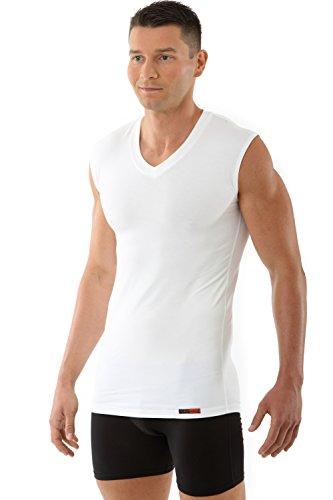 ALBERT KREUZ maglietta intima bianca senza manica con scollo a V in MicroModal elasticizzato, morbidissimo e traspirante