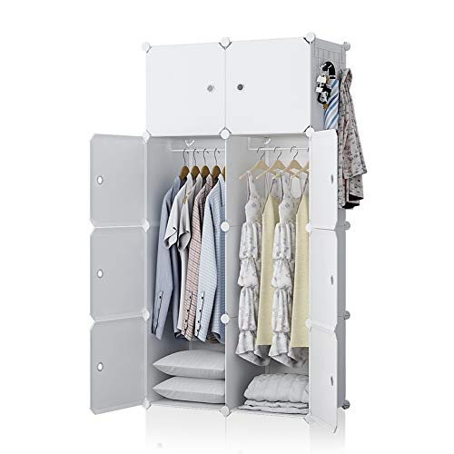 YOZO Modular Wardrobe Plastic Portable Closet Organization Dresser Customizable Cube Storage Organizer Bedroom Armoire Dresser, 8 Cubes, Depth 18 inches, White