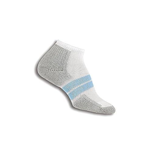 Thorlos Women's Thick Padded 84N Runner Socks, White/Pale Blue, Medium (Women's Shoe Size 7-9) - 84n Runner