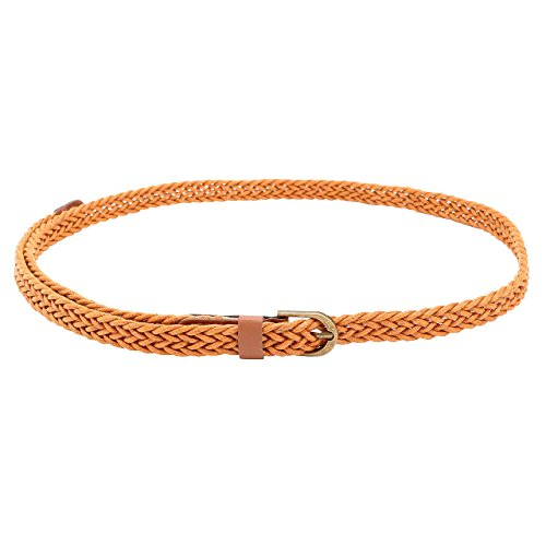 CHIC DIARY Women Casual Braided Skinny Leather Belt Wide Belts for women (Camel)