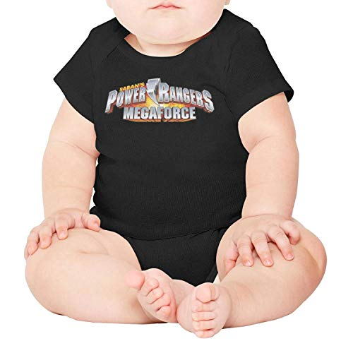 GAKIIER Baby Onesies Black Power-Rangers-Megaforce- Cotton Bodysuit Short Sleeve -