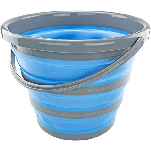 Southern Homewares SH-10185 Deluxe Foldable Silicone Collapsible 2.65 Gallon Bucket, Blue