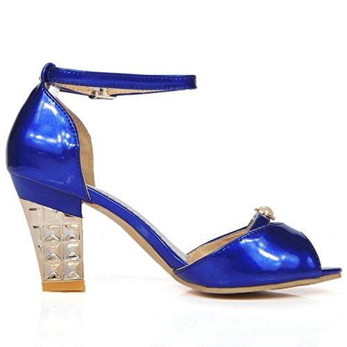 TAOFFEN Peep Sandales Femmes Cheville Blue Toe Bride qUqPZr