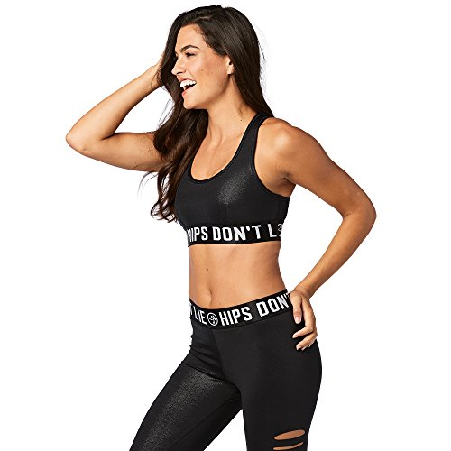 Fitness Bold Black Donna Bra Scoop Slashed Party Top Zumba ZxSq1Pw1