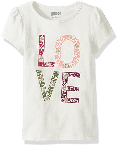 Crazy 8 Toddler Girls' Cap-Sleeve Graphic Tee, Love Ivory, 3Y