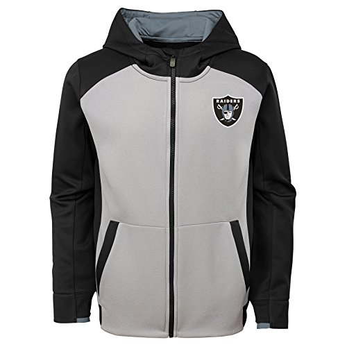(Outerstuff NFL Oakland Raiders Kids & Youth Boys Hi Tech Performance Full Zip Hoodie, Black, Youth Medium(10-12))