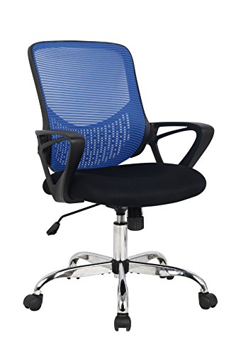 Hodedah Mid Back Mesh Office Chair with Adjustable Height, Blue