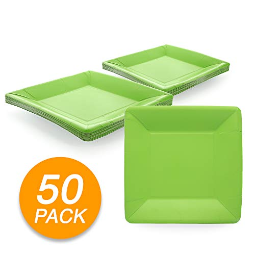 Amcrate Kiwi Green Disposable Party Paper Shimmer Square 7
