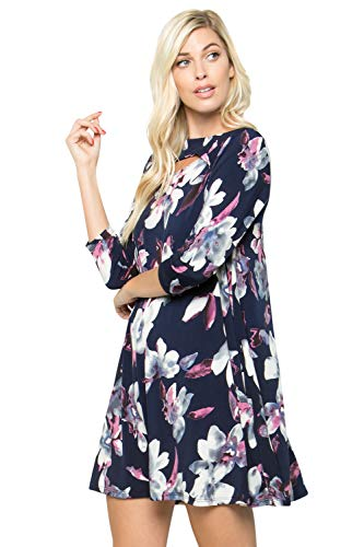 A-line Tunic Dress Regular Plus - 3/4 Sleeve with Pockets Dress - Layered Boat Keyhole Neck Floral Animal Solid (3XL, Navy 3788NIAD)