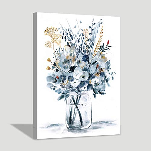 Hardy Gallery Abstract Flower Painting Wall Art: Botanical Flower Bouquet in Crystal Vase Picture Print on Wrapped Canvas for Home Kitchen (24'' x 18'' x 1 Panel) (Vase Yellow Blue)