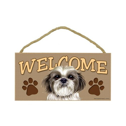 Shih Tzu (puppy cut / short hair cut) Wood Welcome Door S...