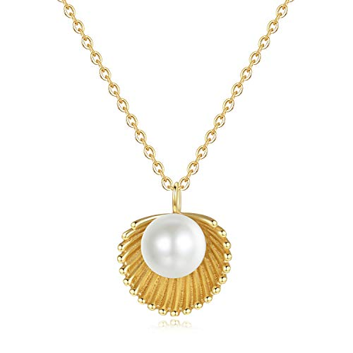 Turandoss Seashell Pearl Necklace for Women Gifts - Gold Plated Sparkly Shell Pearl Necklace, Dainty Paradise Seashell Necklace Best Birthday Gifts Wedding Gifts for Women Bridesmaid Gifts for Girls