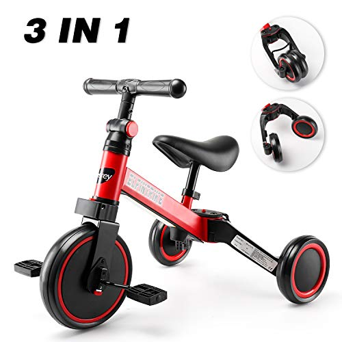 besrey 3-in-1 Kids Tricycle, Ultimate Light Weight Balance Bike for 1-3 Years Old Kids, Upgrade Toddler Training Bike for Girls and Boys