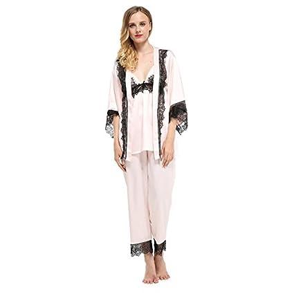 MH-RITA Tres piezas marca Fiklyc pijama mujer establece encajes de satén pantalones longitud completa
