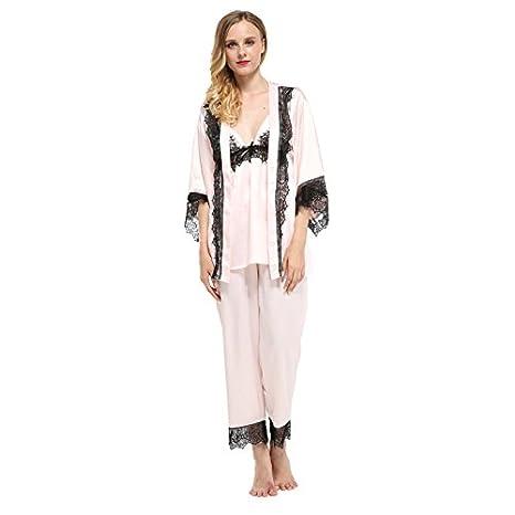 4216fcba8 MH-RITA Tres piezas marca Fiklyc pijama mujer establece encajes de satén  pantalones longitud completa otoño homewear pijamas conjuntos femeninos de  ...