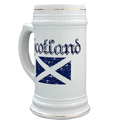 Scottish Beer (CafePress - Scottish Flag Stein - Beer Stein, 22 oz. Ceramic Beer Mug with Gold Trim)