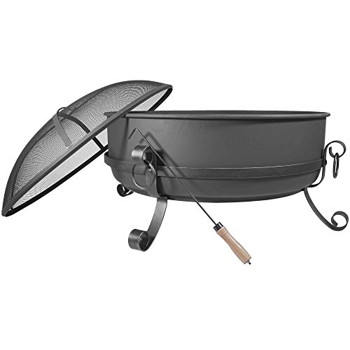 Cheap 34″ Steel Cauldron Fire Pit Outdoor Backyard Cooking Camping 34 Diameter Bowl