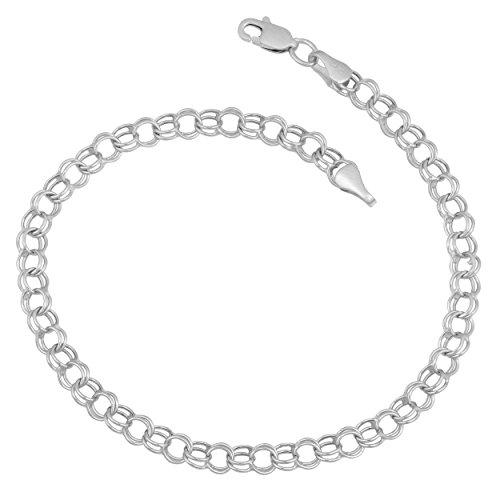 Kooljewelry 14k White Gold 4 mm Round Charm Link Bracelet (7.5 inch)